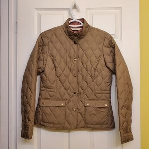 Eddie Bauer olive goose down equestrian style fall jacket S
